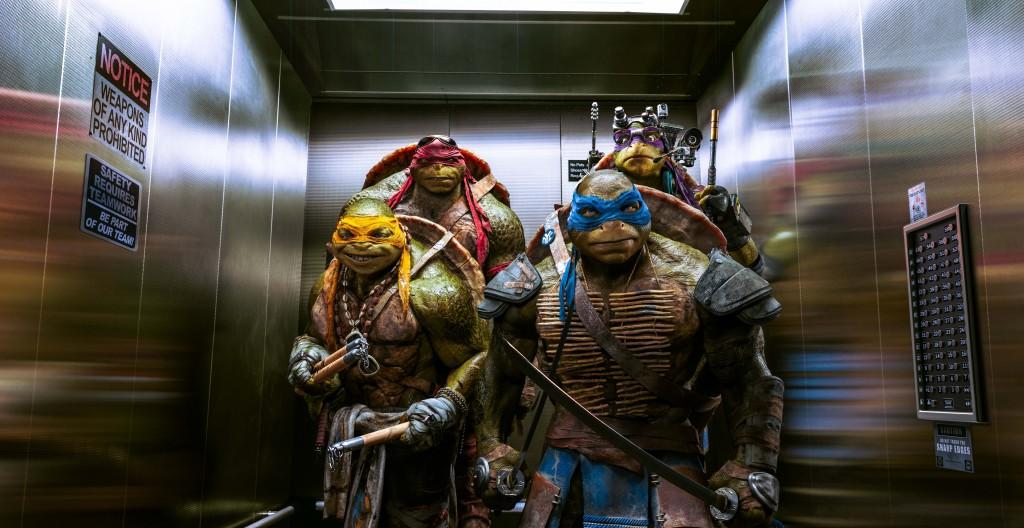 De gauche à droite en partant du fond: Raphael, Donatello, Michelangelo, Leonardo.