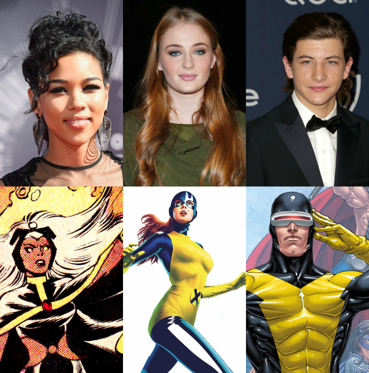 Alexandra Shipp, Frazer Harrison/Getty Images, Tornade, http://cdn.pastemagazine.com/www/blogs/lists/1stormdavefinal.png, Sophie Turner, Cindy Ord/Getty Images North America, Jean Grey, http://www.mundomarvel.com/personajes/jean-grey.html, Tye Sheridan, WENN.com, Cyclope,  http://s884.photobucket.com/user/Lars_Dan/media/Imagen5-14.png.html, Droits Réservés